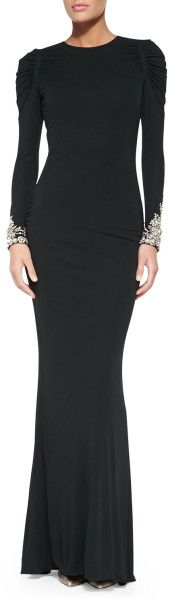 Love this: Longsleeve Gown with Crystal Cuffs @Lyst
