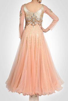 Peach color sequin gown