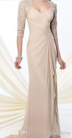 New Design Sweetheart Long Column Mother Of The Bride Dresses Beaded Lace Jacket 3/4 Sleeve Pleats Chiffon Long Gowns Custom Made Lh Mother Of The Bride Dresses Cheap Mother Of The Bride Dresses Short From Onlinewedding, $101.66| Dhgate.Com