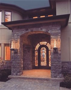 nice rock arch porch.