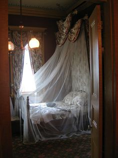 Mosquito Netting for beds - an absolute must in the islands Bed Net, San Francisco, Antique Beds, Old Mansions, Unusual Homes, Plantation Homes, Victorian Homes, Victorian Life, Old Houses