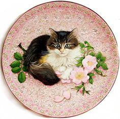 Lesley Ann Ivory Meet My Kittens June Agneatha Calender Plate Beautiful Kittens, Most Beautiful Animals, Christmas Tree Gif, Angora Cats, Art Carte, Curious Creatures, Clip Art, Couple Wallpaper, Decoupage