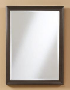 221 – Oil rubbed bronze metal frame with wood core to accent 1″ beveled edge mirror. 23″ wide, 31″ high and 1 3/4″ deep. Actual frame is 1 3/4″ wide