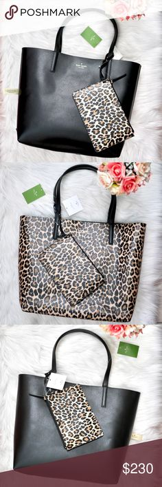 "f554d80ef74f 🍋Reversible Tote plus Wristlet- 2 Totes in 1! 🌿DETAILS  Color  Black Cheetah  Print Material  Smooth Leather Dimensions  12""H x 12.75""W (widest point) x  ..."