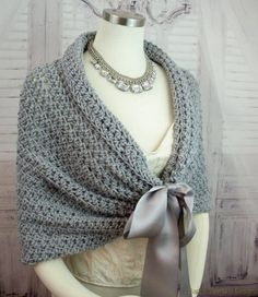 Wedding Shawl Crochet Pattern. Easy crochet shawl pattern for a bride or bridesmaids. This crochet shawl with double face satin ribbon closure can be worn as a shrug, stole, shawl or shoulder wrap. This easy crochet pattern is the perfect accessory for any wedding. Make a gift