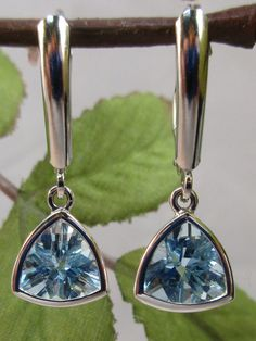 65622bc11 Aquamarine Trillion cut 14k White Gold Leverback Earrings Pear Shaped,  Gemstone Colors, Designer Earrings