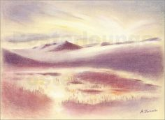 "Marita Zacharias - ""Holiday Iceland - Mystic Sunrise"" Pastel drawing, art print at different sizes by Posterlounge http://www.posterlounge.de/urlaub-island-mystischer-sonnenaufgang-pr513947.html"