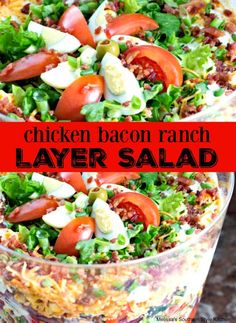 Chicken Bacon Ranch Layer Salad Feast your eyes on these healthy & vibrant 7 layer salad recipes. Each bite will give you a burst of flavors from fresh veggies, simple dressings and more. Main Dish Salads, Dinner Salads, Meal Salads, Savory Salads, Salad Dishes, Fruit Salads, Food Dishes, Main Dishes, Side Dishes