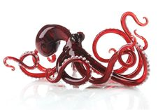 Elegant Studio Art Glass Octopus * Red * Each Made To Order & Unique * 10 x 4 inches