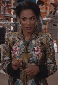 Larissa's gold embroidered detail jacket worn on The Carrie Diaries