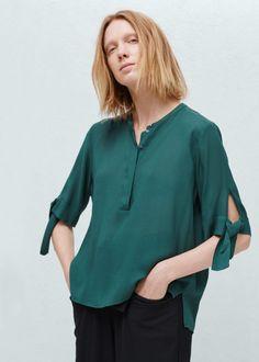 Dokuma dökümlü bluz - Gömlek - Kadın | MANGO Türkiye