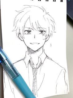 Anime Boy Sketch, Art Drawings Sketches Simple, Pencil Art Drawings, Cute Drawings, Anime Character Drawing, Character Art, Manga Art, Anime Art, Guy Drawing