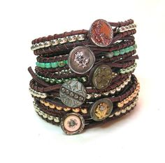 Silver leather wrap bracelets