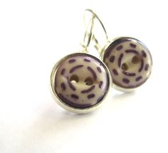PURPLE antique button earrings