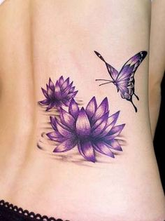 In ancient Asian spirituality lotus flower has significant meaning and symbolism. Check out the beautiful Lotus Flower Tattoos here. Lotus Tattoo Design, Purple Lotus Tattoo, Butterfly With Flowers Tattoo, Purple Tattoos, Butterfly Tattoo Designs, Lotus Flowers, Purple Butterfly, Purple Lily, Purple Flowers