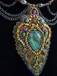 Mystery - Necklace Bead Embroidery Art. $193.00, via Etsy.