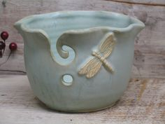 Wavey Dragonfly Yarn bowl - Knitting bowl - Handmade Pottery by Heidi by Heidishoppe on Etsy https://www.etsy.com/ca/listing/213792510/wavey-dragonfly-yarn-bowl-knitting-bowl