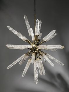 rock crystal and bronze 'starburst' chandelier