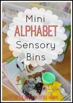 mini alphabet sensory bins activity