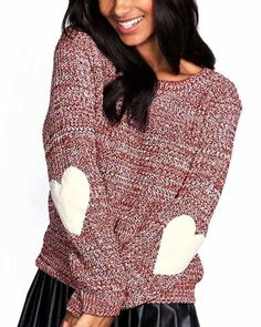 e8be8e958b66b8 Casual Burgundy Elbow Patched Jumper Sweater. risechic.com. Winter European Loose  Sweaters Women ...
