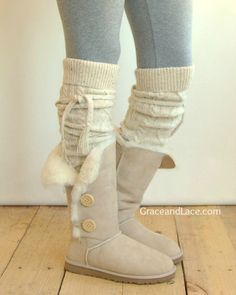 Alpine Thigh High Slouch Sock - Tweed thick cable knit socks w/ fold over cuff and tassel tie - minus the uggs add boots Slouch Socks, Cable Knit Socks, Knitting Socks, Lace Boot Socks, Cozy Socks, Look Fashion, Fashion Women, Fashion Trends, Fashion Boots