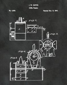 Patent 1846 Coffee Roaster   Wall Art Print   Kitchen Art  Poster    Restaurant Wall