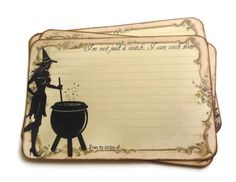 Funny Witch Recipe Cards Halloween Recipe Cards by Istriadesign, $8.50... I want these!