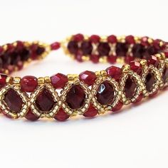 Fire-Polish Bracelet Pattern, Beading Tutorial in PDF