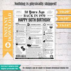 50th birthday newspaper poster 1970 birthday gift 50th | Etsy