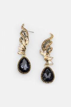 Crystal Tiffany Earrings in Black Diamond