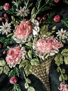 Antique Edwardian hand embroidered & silk ribbonwork cushion cover 1910