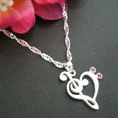 Treble & Bass Clef Heart Necklace  Sterling Silver  by yhtanaff