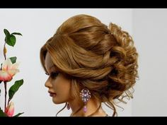 Bridal hairstyle for long medium hair. Wedding prom updo. - YouTube