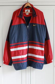 45a591e5d9 NIKE Windbreaker jacket Vintage 1980s 90s Tracksuit Activewear Burgundy  Blue Loose Oversize Sport Retro Men Oldschool Hip Hop   Extra Large