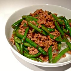 Asian Green Beans with Ground Turkey over Rice