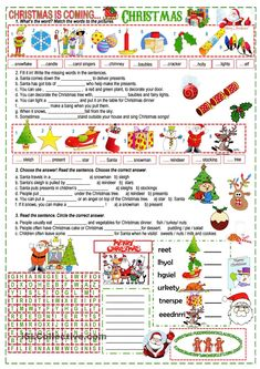 There are 3 texts about Christmas to complete with the given words, it is a good way to practise the vocabulary students learnt about Christmas. You may find it useful too. Have a nice day and Merry Christmas to all of you! Christmas Trivia, Christmas Worksheets, Christmas Poems, Christmas Party Games, Merry Christmas To All, Christmas Is Coming, Christmas Printables, Christmas Traditions, Christmas Holidays