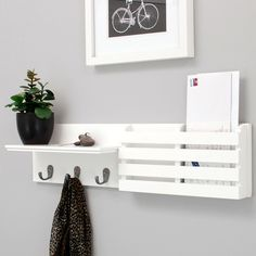 Kiera Grace Sydney Wall Shelf and Mail Holder with 3 Hooks, by White This coat rack shelf features. Entryway Coat Rack, Coat Rack Shelf, Wall Mounted Coat Rack, Wall Mounted Shelves, Display Shelves, Storage Shelves, Coat Racks, Entryway Shelf, Entryway Decor
