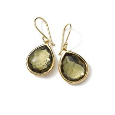 Gold Rock Candy Teardrop Earrings in Green Gold Citrine and Pyrite Doublet