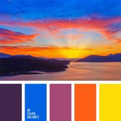 Color inspiration for design, wedding or outfit. More color pallets on… Sunset Color Palette, Orange Color Palettes, Sunset Colors, Colour Pallette, Colour Schemes, Color Combos, Orange Palette, Color Harmony, Color Balance