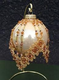 Bead Knitter Gallery: It's Beaded Ornament Cover Time Beaded Christmas Decorations, Christmas Ornaments To Make, Handmade Christmas, Christmas Crafts, Beaded Ornament Covers, Beaded Ornaments, Diy Ornaments, Beaded Crafts, Beading Projects