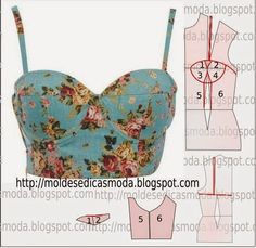 molde de corpete florido use a fitted top to make a bra-top (or a short fitted top)Fashion molds for MeasureMod@ en Line Lingerie Patterns, Sewing Lingerie, Dress Sewing Patterns, Sewing Hacks, Sewing Tutorials, Sewing Projects, Fashion Sewing, Diy Fashion, Sewing Clothes