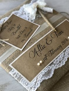 Rustic lace, hessian and pearl guest books