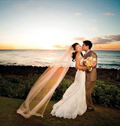 A dreamy sunset wedding setting in Oahu, Hawaii - Visit Travel Connections on Facebook at www.Facebook.com/TravelConnectionsPeru!