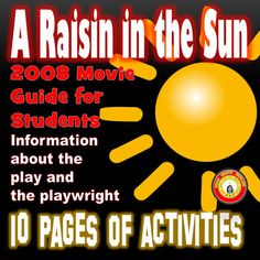 I created this product using Microsoft Word.This is a movie guide that I use when students watch the 2008 movie version of A Raisin in the Sun starring Sean Combs, Sanaa Lathan, Audra McDonald, and Phylicia Rashad.  The movie is 131 minutes and is available on YouTube.