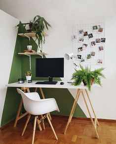 Home office inspiration with scandinavian desk and chair, green and white wall, . - Home Office Inspiration -