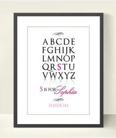 Baby Girl Nursery Alphabet Print Baby Girl Name by TANGRAMartworks, $21.99
