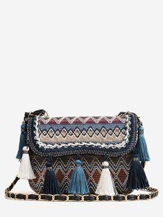 Flap Chain Tribal Patchwork Color Block Sling Bag