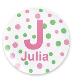 personalized polka dot plate- Nadia