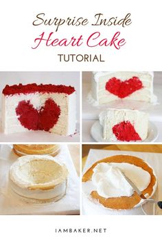 Learn how to make this Surprise Inside Heart Cake for Valentine's day with this step by step tutorial. The red velvet surprise is a definite treat your loved ones will greatly appreciate. Cake Recipes For Beginners, Easy Cake Recipes, Sweet Desserts, Easy Desserts, Velvet Cake, Red Velvet, Surprise Inside Cake, Two Layer Cakes, Heart Cakes