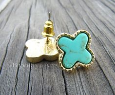 Crystal Cattle: Turquoise and Gold Earrings from Etsy's BrooklynArt